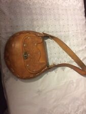 Vintage Hand Tooled Leather Purse Saddle Bag Western Flap Turn lock Closure