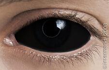 Farbige Crazy & Fun Halloween Kontaktlinsen 22 mm - BLACK SCLERA  + Behälter !