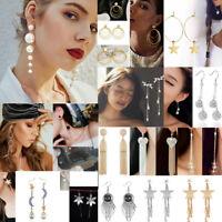 Women's Fashion Rhinestone Dangle Long Tassel Earrings Fringe Crystal Ear Drop