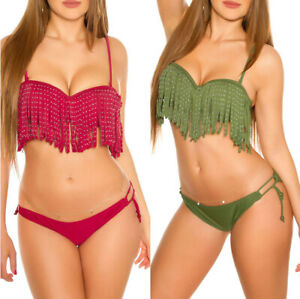 Bikini DONNA costume da bagno imbottito con frange e strass moda mare piscina