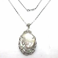 Mother of Pearl Cameo Pendant  Includes Necklace Rhodium Silver 18 inches China