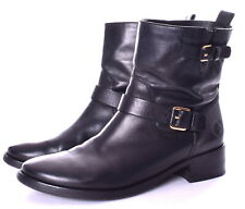 TORY BURCH Bennie Black Leather Pull On Low Heel Buckle Ankle Boots size 11