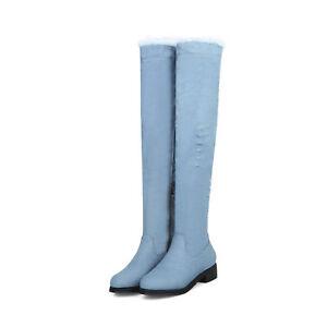 Women's 3.5cm Cuban Heel Zip Denim Round Toe Over Knee Boots US Shoe Size 2~14