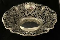 Vintage Ornate GODINGER Silverplate Repousse Bowl Pierced Floral Silver Plate