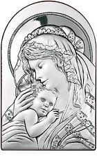 Icona in Argento Madonna con Bambino Icona ad Arco Quadri Arte Sacra in Argento