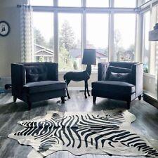 Zebra Cowhide Rug Size: 7' X 6.5' Brazil Black Striped Zebra Print Cowhide Rug