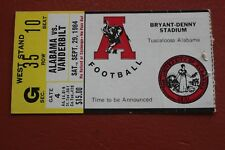 1984 VANDERBILT VS ALABAMA FOOTBALL TICKET STUB