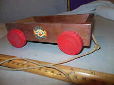 ANTIQUE VINTAGE WOODEN CIRCUS PARADE PULL TOY WAGON CART RED BAKELITE WHEELS CAR