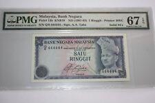 (PL) NEW: $ 1 Q/6 444444 PMG 67 EPQ  AZIZ TAHA 4TH SERIES SOLID NUMBER 4 - RARE