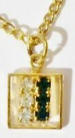pendentif chaine bijou vintage couleur or cristaux diamant vert émeraude * 4995