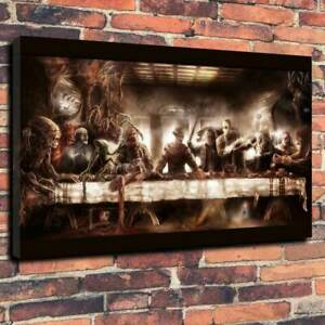 Horror Icon's Last Supper Movie Room Printed Canvas Picture Multiple Sizes