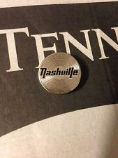 Nashville Record Lapel Pin Gold or Silver Tone W Black Lettering.