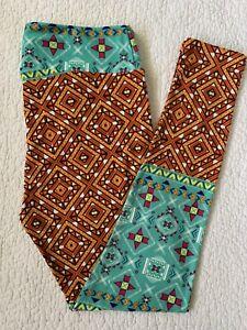 LULAROE Leggings TC Orange Sea Foam Green Geometric Aztec Mosaic Diamonds VTG