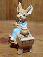 Vintage Pendelfin Studio Hand Painted Stonecraft Crocker Rabbit Figurine~England