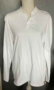 Mens ASOS White 1/4 Button Up Long Sleeve Polo Shirt Size Large