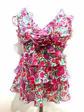ANDREW GN Fuchsia/Multicolor Floral-Print Silk Tiered Ruffles Halter Blouse SzS