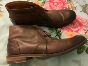 CLARKS MENS CUSHION PLUS BROWN LEATHER ANKLE BOOTS UK SIZE 10 EUR 44.5 &