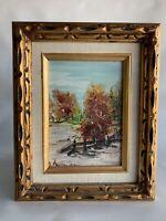 Vintage Oil Painting Trees Stream Forest Fall Landscape Original Art Framed T2