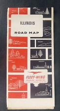 1972 Illinois road  map Fleet-Wing oil  gas