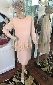 20s DRESS FLAPPER Downton Abbey GATSBY DROP WAIST Pink Lace Ruffle Steampunks M