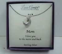 """Women's Sterling Silver MOM I Love You to the Moon & Back Pendant Necklace 18"""""""