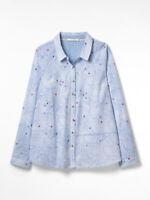 New White Stuff Cotton Cara Blue Star Shirt/Blouse Size 8 - 16 RRP £47