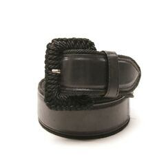 Prada Belt Size 90 cm Black Ladies Accessoire Belt Ceinture Leather Leather