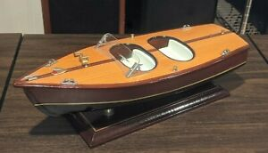 "Vintage Wood 14"" Hand Carved CHRIS CRAFT Runabout Wood Mahogany Speed Boat  NICE"