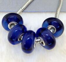 5PCS silver hallmarked Single Core Murano Glass Beads fit Charms Bracelet AOC217