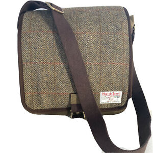 HARRIS TWEED Crossbody Messenger Bag Wool Herringbone Plaid