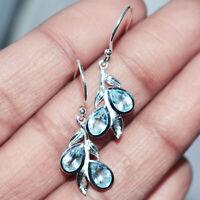 925 Sterling silver Blue Topaz Gemstone Earring 2.36 g Fine Earring jewelry