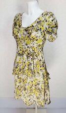 SPIRIT Floral beige Green black satin silk Short sleeve Mini Tiered sun dress 8