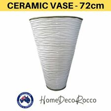 Ceramic Contemporary Freeze Gloss White Large Tall Floral Pot Vase