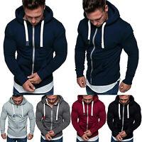 Mens Hoodie Zip Up Jacket Gym Sports Coat Hooded Sweatshirt Casual Outwear Tops