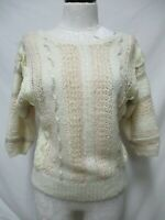 Beldoch Popper Vintage crochet ribbon applique pullover Sweater top Sz Small Sm