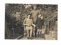 Foto, Soldat in Uniform, Mütze, Frau, Junge, Garten