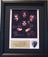Queen Preprinted Autograph & Guitar Pick Display Mounted & Framed