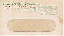 POSTAL HISTORY ADVERTISING METERED COM COVER - 1950 SHANE UNIFORM CO INDIANA