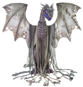 *IN STOCK*  HALLOWEEN LIFE SIZE ANIMATED WINTER DRAGON  PROP DECORATION 7 FT