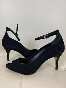 Schutz 187157 Womens Liffa Leather Peep Toe Ankle Strap Heels Black Size  8B