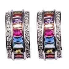 925 Silver Multi-Color Sapphire Stud Earrings Engagement Bridal Women Jewelry