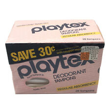 VTG Playtex Deodorant Tampons Regular Absorbency 28 Count NOS CALDOR New Sealed