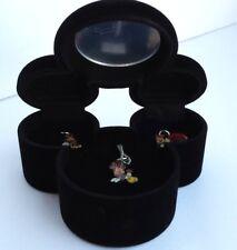 Disney Mickey Mouse Velvet Jewelry Box w/ Minnie Enamel Necklace w/ 2 charms