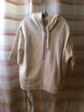 Authentic Escada Sport Powder Cream Women's Glitter Detail Hoodie Sport Jacket