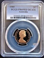 1980  2 cent PROOF slabbed coin. PCGS PR69RD DCAM! High Grade! Only 68,000 made!
