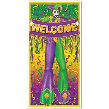 Green, Yellow & Purple Welcome Door Cover - Mardi Gras Party Decorations