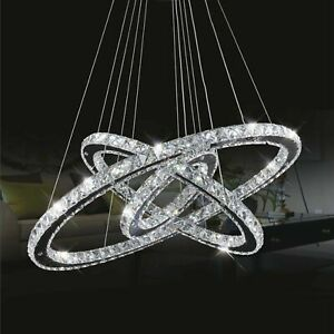 Lampadario Cristallo LED da soffitto a sospensione 3 anelli DESIGN SVAROVSKI 55w