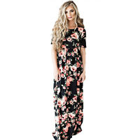 Womens Vintage Spotted Short Sleeve Long Maxi Ladies Boho Holiday Party Dress