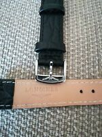 cinturino in vera pelle nera, marcato Longines, swiss made ansa da 18mm