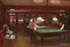 Handmade Jean Beraud Art Oil Painting repro A Game of Billiards